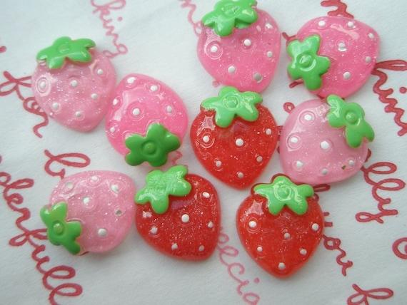 Clear Glitter Small Strawberry cabochons 9pcs Size-S 13mm x 13mm E-0