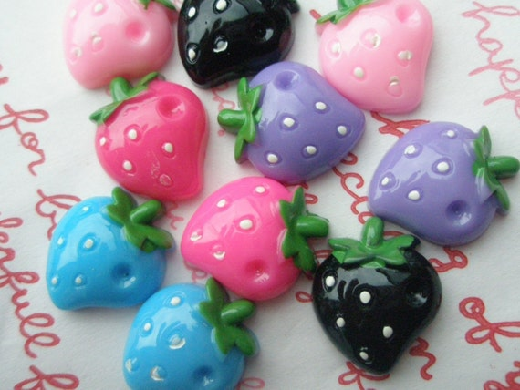 SALE Colorful Strawberry cabochon Set 10pcs 5 colors