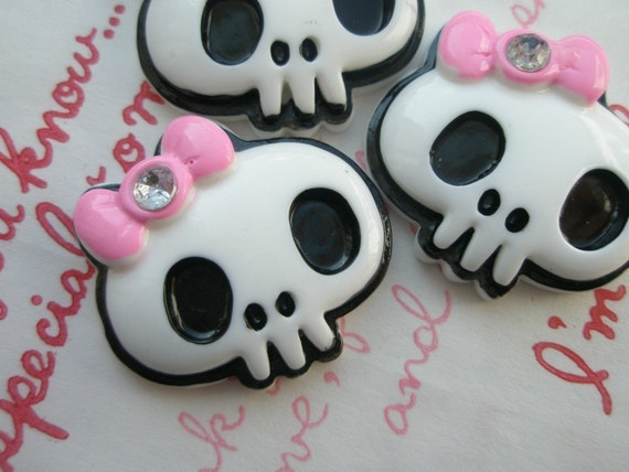 SALE  Skull with Pink bow and rhinestone CABOCHONS 3pcs MJ