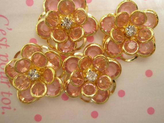 sale CLEAR Fancy Flower cabochons Set 4pcs GOLD Frame Pink