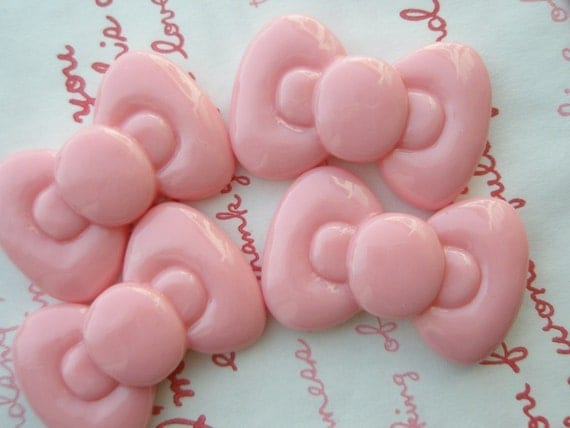 SALE Cute Round Chunky bow cabochons 4pcs Light Pink  ME