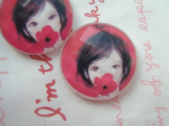 sale Girl Image Faceted round Glass cabochon 2pcs 22mm (Red Flower Girl)