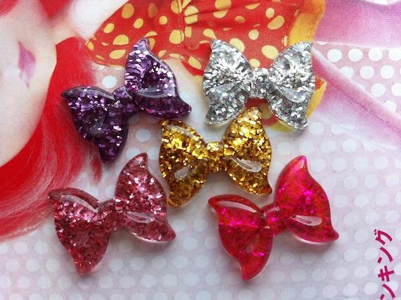 Small GLITTER  bow cabochons 5pcs