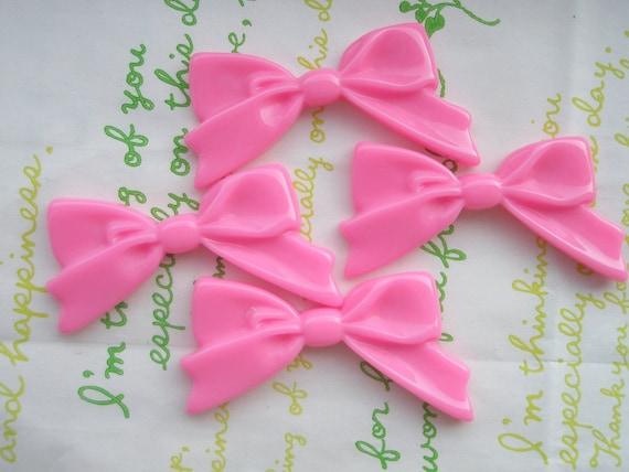 Plain Tied bow cabochons 4pcs Bubblegum Pink