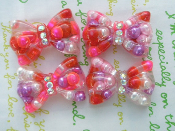 SALE Chunky Resin bow cabochons 4pcs with Rhinestone