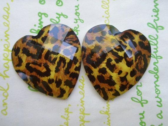 LEOPARD heart  cabochons Set 2pcs