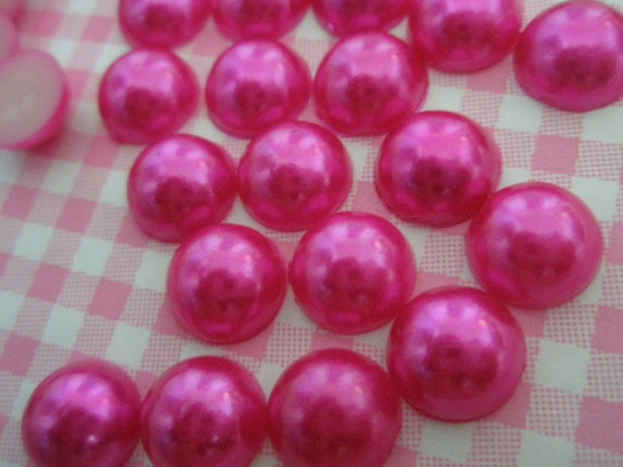Hot Pink Pearlized Cabochons 10mm 25pcs