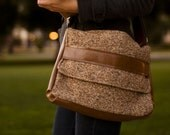 Laptop Satchel in Tweed and Brown Faux Leather