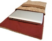 Brown Tweed and Faux Leather Laptop Sleeve