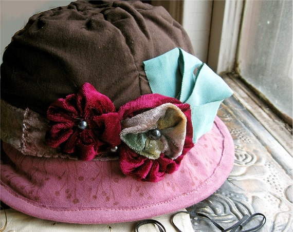 Brown Raspberry Cloche Hat  vintage style recycled tee shirt cotton and velvet flowers