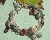 Lampwork Gemstone and Silver Bracelet