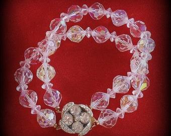 Vintage Aurora Borealis Crystal Bead Bracelet with Brilliant Crystal Rhinestone Clasp Double Strand
