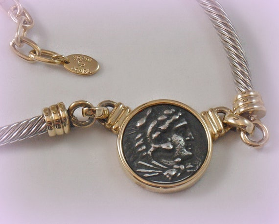 Vintage Erwin Pearl Pewter Cameo Choker Necklace Roman Coin