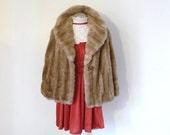 Vintage 50's Faux Fur GLAM Wide Collar CAPELET Coat M