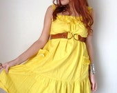 Vintage 70's Yellow EMBROIDERED Flowers Cotton SUNDRESS ML