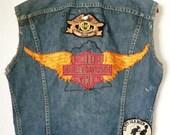 Vintage 70s Handmade HARLEY PATCH Denim Vest M L