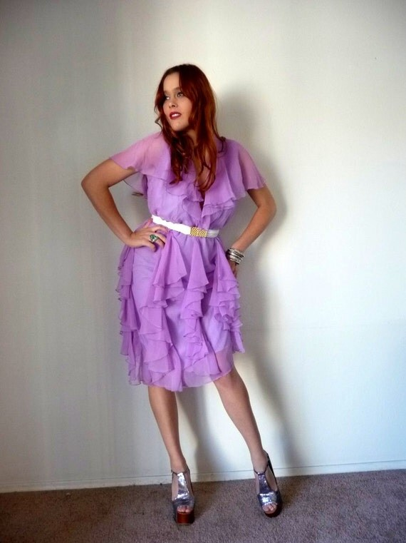 ON S A L E -- Vintage 80s Lilac CASCADING RUFFLE Plunging Neck Party Dress M L