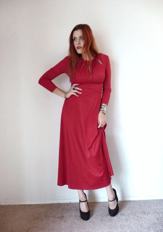 S A L E -- Vintage 70s Maroon CUT OUT GODDESS Empire Waist Maxi Dress S M