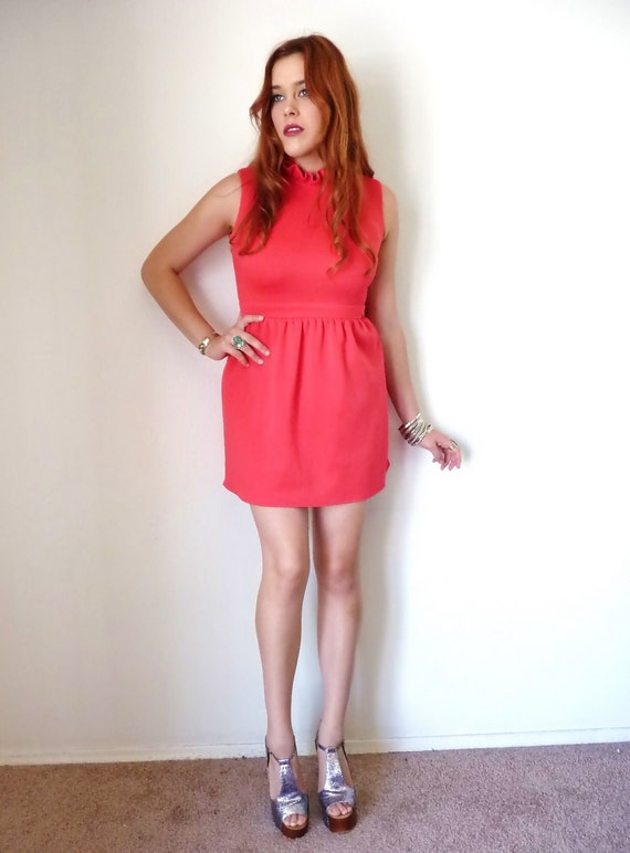 Vintage 70s Red RUFFLE NECK Party Mini Dress M
