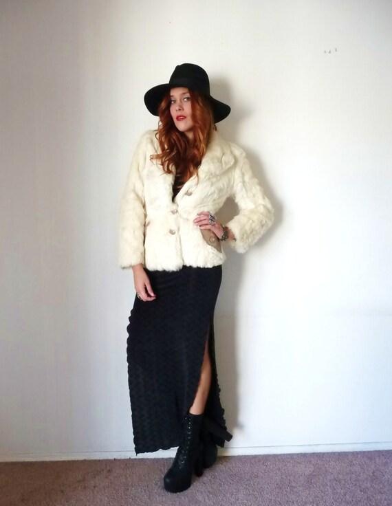 Vintage 70s Cream RABBIT FUR Leather Trimmed Jacket M