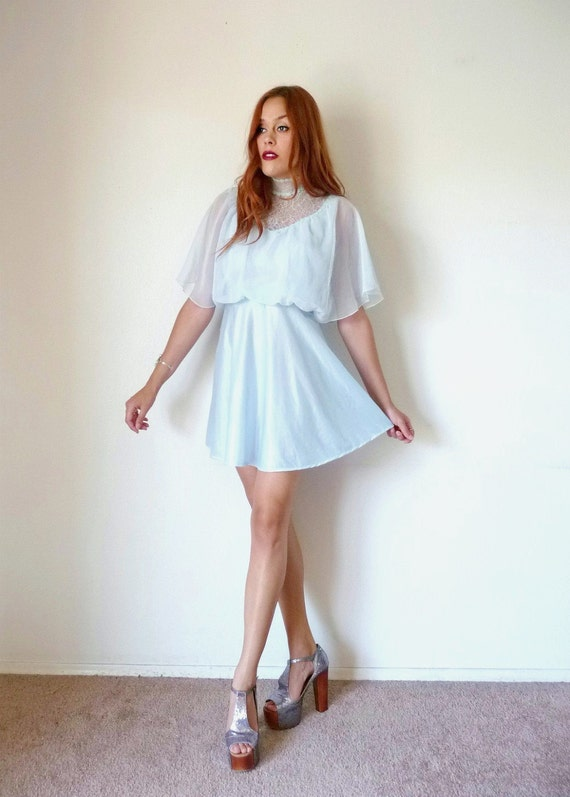 Vintage 70s Ice Blue SHEER DRAPED Lace Mini Dress S M