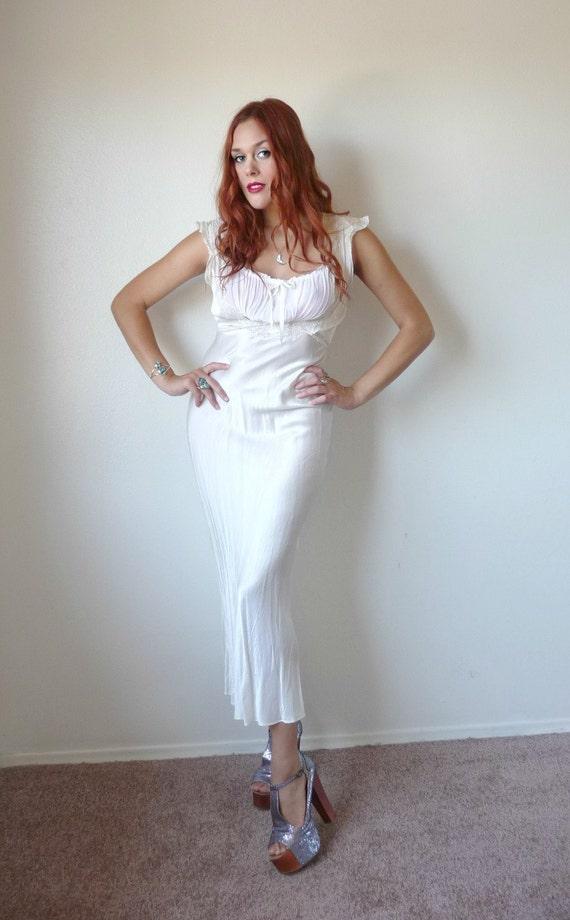 Vintage 40s Cream SILK BIAS CUT Full Length Nightgown S M