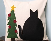 Black Cat Christmas Pillow Cover