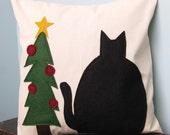 Black Cat Christmas Pillow Cover
