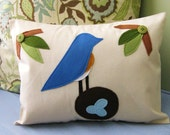 Eastern Bluebird with her Eggs Pillow Cover