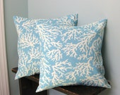 Sea Blue and White Branch Coral Pillow Covers 14x14 Set of 2