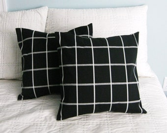 Black and Off White Windowpane Pillow Covers 16x16 Set of 2