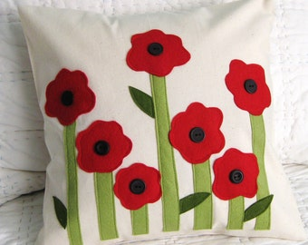 Red Poppies Pillow Cover