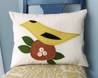 Goldfinch with her Eggs Pillow Cover