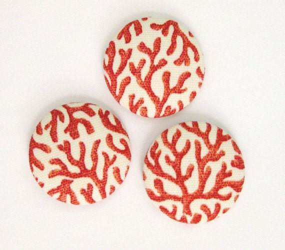 Branch Coral Covered Buttons 1 1/2 Set of 3