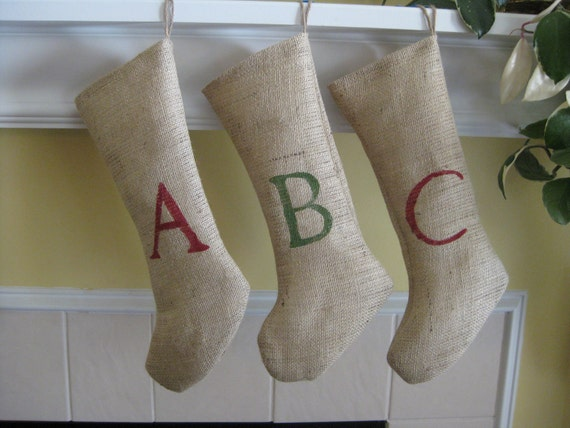 Custom Initialed Burlap Christmas Holiday Stocking