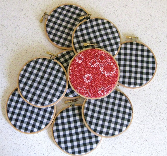 Embroidery Hoop Wall Art Black Gingham with Red Set of 9