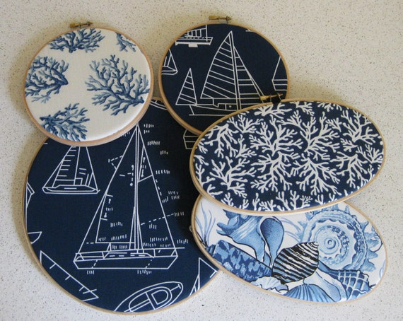 Embroidery Hoop Wall Art Nautical Collection in Navy Set of 5