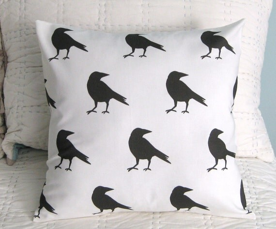 FREE SHIPPING Raven Black and White Pillow Cover