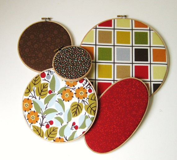 Brown Red and Neutral Print Embroidery Hoop Wall Art Set of 5