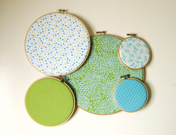 Lime Green and Bright Blue Print Embroidery Hoop Wall Art Set of 5