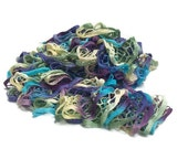 Turquoise, Lilac, Green and Ivory - Wild Hydrangeas - Hand Knit Lacy Ruffled Scarf - Fashion Accessory  - Made to Order