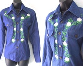 Vintage 70s Blue Denim with Floral Embroiderey Western Shirt  Womens L or Mens M