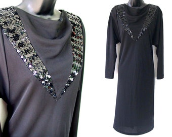 70s 80s Black with Sequins Cowl Neckline Tunic Dress S