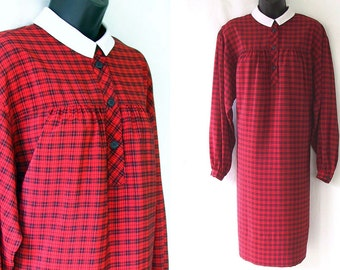 80s Red and Black Plaid with White Collar Nipon Tent Dress L