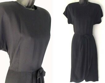 80s 90s Rayon Black Faux Wrap Dress M
