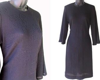 60s 70s Black Open Knit Bell Sleeves Dress M L