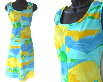 70s Blue Green Yellow Birds with Water Abstract Print Sleeveless Dress M L
