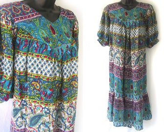 80s Aqua with Geometric Floral Print Dress L XL