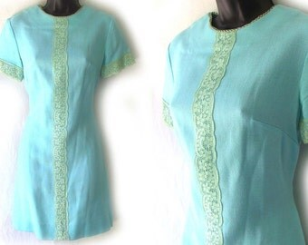 60s 70s Aqua with Lace Trim Mini Dress S