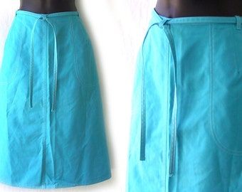 70s Aqua with White Topstitching Wrap Skirt M L